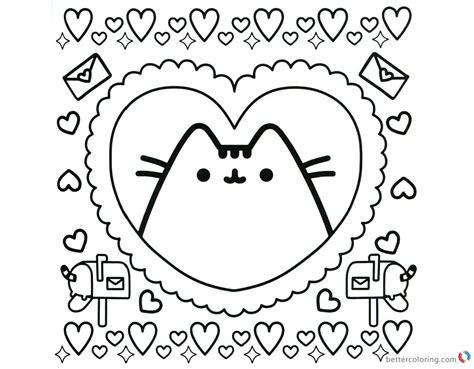 Pusheen Coloring Pages Pusheen In Heart Pattern