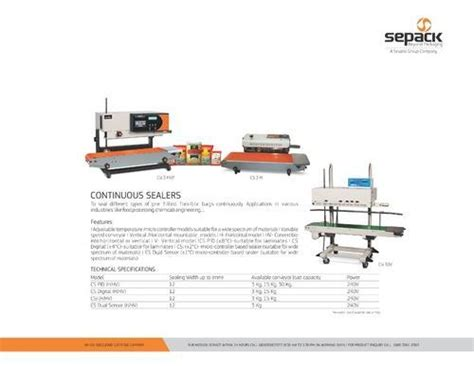 sepack semi auto continuous sealer scsv rs  piece  pack eng works id