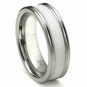 tungsten carbide white ceramic inlay wedding band ring w With inlay wedding rings