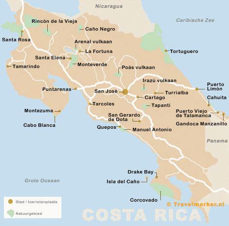 bezienswaardigheden plaatsen en natuurgebieden  costa rica