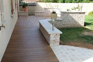 Terrasse Avec Muret : cr ation et am nagement de terrasse en bois paysagiste ~ Premium-room.com Idées de Décoration