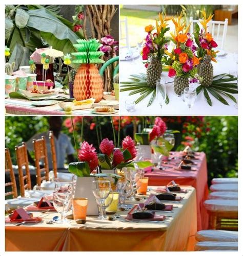 decoration mariage tropical decoration table ananas fleurs