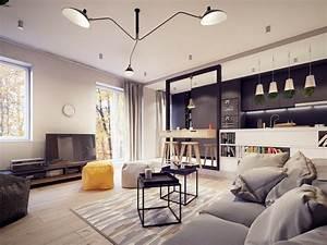 cuisine ouverte sur salon une solution pour tous les espaces With idee deco cuisine avec tapis salon style scandinave