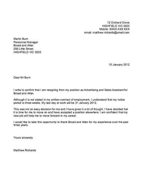 sample  resignation letter ideas