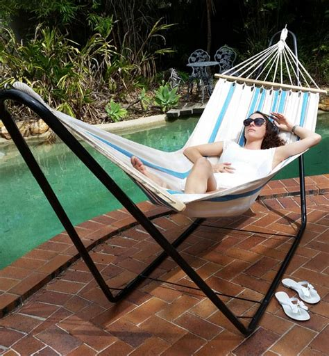 Hammock And Hammock Stand by Free Standing Hammock Small White And Blue Spreader Bar