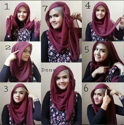 langkah mudah  memakai hijab segi empat kreasi cantik