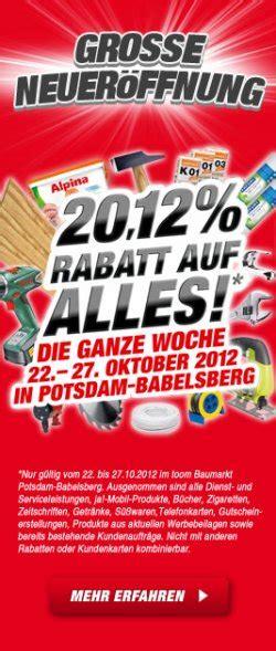 [lokal] 2012% Rabatt Beim Toom Baumarkt In Potsdam & Tgl