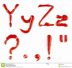 letters and signs made of ketchup on white backgro stock With letters and signs
