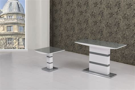 grey glass  white high gloss lamp table homegenies