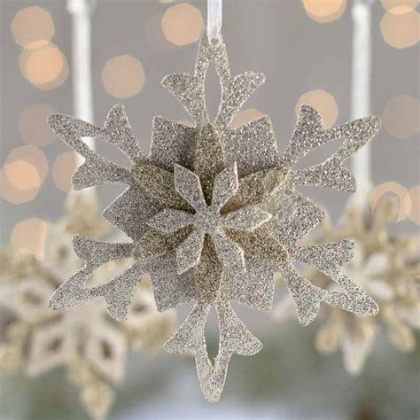 Silver Gold Glittered Snowflake Ornament Set
