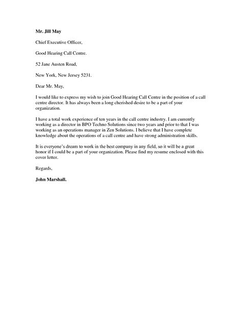 best ideas of application letter sle for call