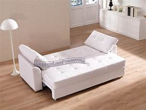 White leather sleeper sofa smalltowndjscom for Modern white leather sofa bed sleeper
