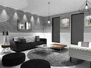 Interieur Maison Moderne Noir Blanc Gris