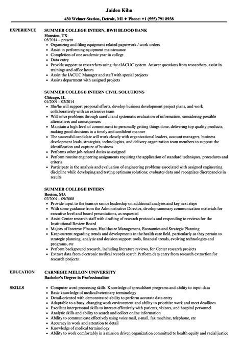 summer college intern resume sles velvet