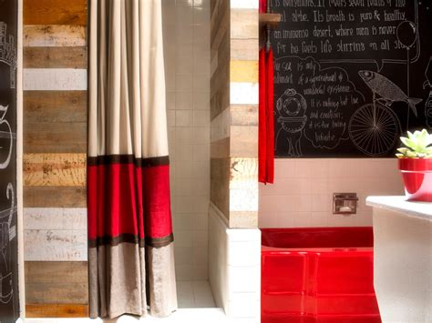 Striped Drapery by No Sew Striped Shower Curtain Using Drapery Panels Hgtv