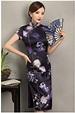 优雅镜花旗袍,清新蓝色花旗袍裙- 中国风