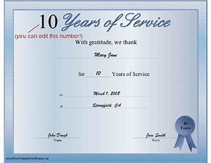 long service certificate template sample - a printable certificate thanking the recipient for any