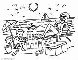 Coloring Pages Summer Beach Fun Vacation Printable Adults sketch template