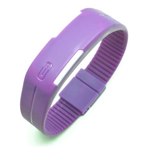 gelang jam digital led jam tangan led gelang sport no logo purple