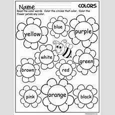 Free Flower Color Words Worksheet Great For The Spring  Daycare  Pinterest  Flower Colors