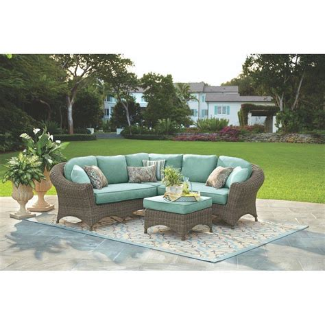 martha stewart living lake adela 4 weathered gray all weather wicker patio sectional set