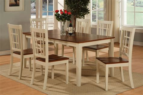 Kitchen Table Set With Bench by 7 Pc Dinette Kitchen Dining Table With 6 Wood Seat Chairs