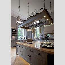 Küche Anthrazit Grau Rahmenfront Landhaus Insel