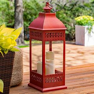 Red, Triple, Pillar, Flameless, Outdoor, Candle, Lantern, -, 28, 5, Inch, -, Timer