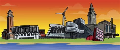 cleveland skyline vector   clip art