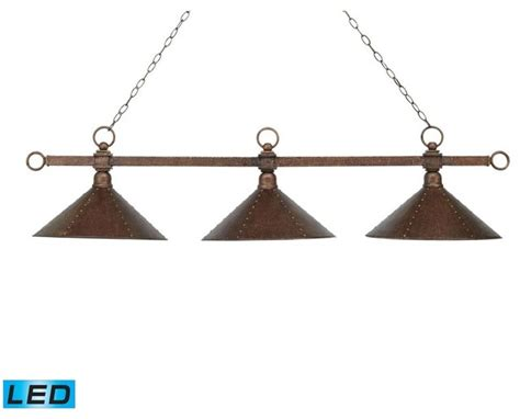 three light antique copper hammered iron shade pool