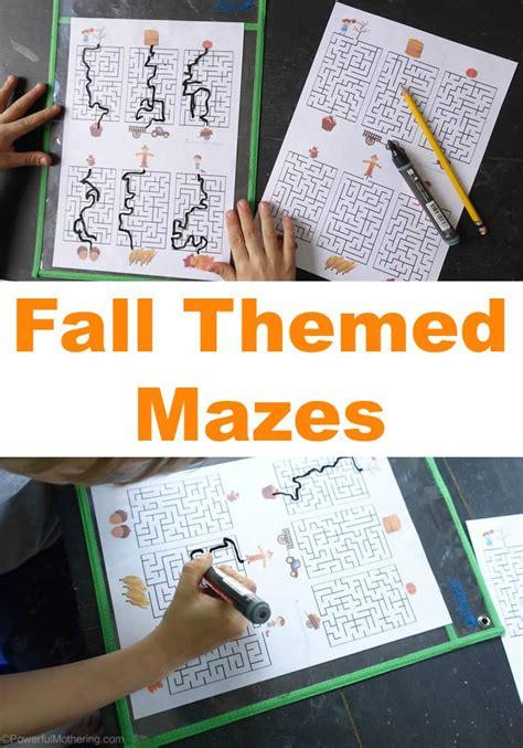 fall themed mazes  printable