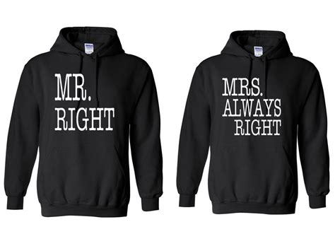 Anime Couple Hoodies Couple Hoodie Mr Right Mrs Always Right Hooded