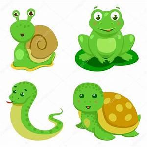 Reptiles y anfibios decorativo situado en ilustración de vector de dibujos animados estilo