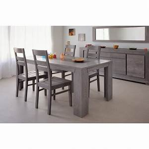 ensemble salle a manger design chene grise 4 chaises With salle a manger grise