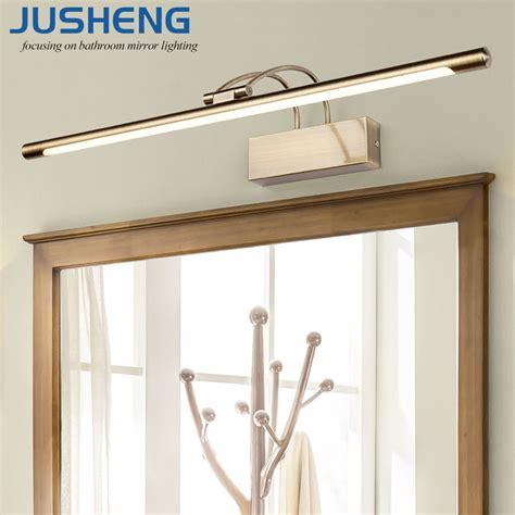 jusheng modern bronze indoor led wall lights top mirror