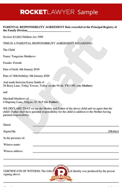 Responsibility Contract Template parental responsibility agreement parental