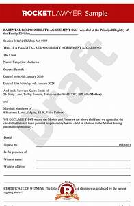 parental responsibility agreement parental With responsibility contract template