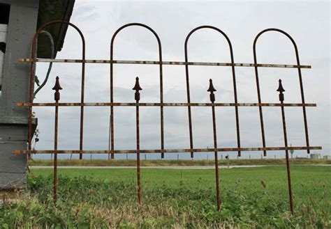 wrought iron large hoop  spear fencing garden border