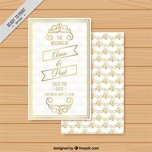 golden ornamental wedding invitation vector free download With golden wedding invitations free downloads