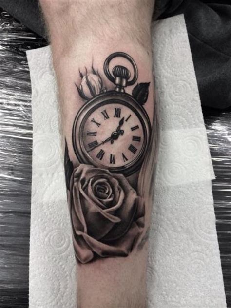 arm realistic clock flower tattoo  pete  thief
