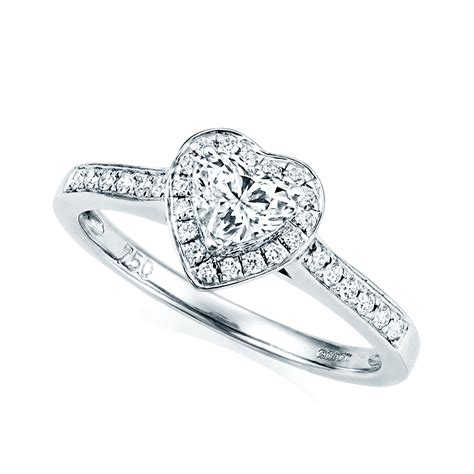 berry s 18ct white gold heart shaped certified diamond engagement ring