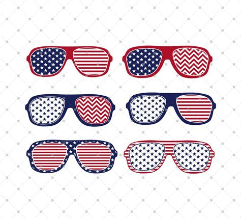 Digital usa glasses clip art in svg, eps, dxf , ai and png file format. American US flag patterned 4th of July Glasses SVG PNG DXF ...