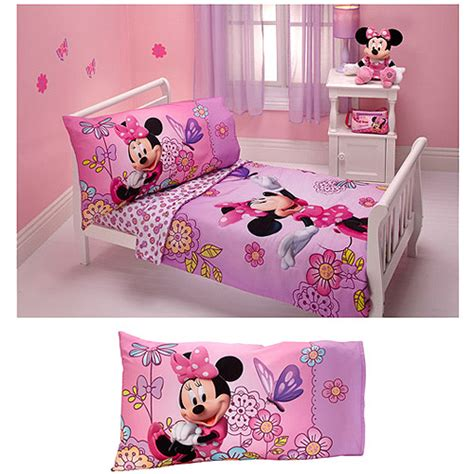 Minnie Mouse Bedding by Disney Minnie Mouse Flower Garden 4pc Toddler Bedding Set