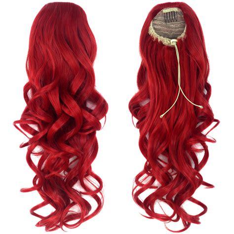 Miss U Hair Women Long Curly Wine Red