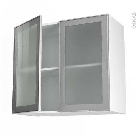 porte facade cuisine meuble haut ouvrant h70 façade alu vitrée 2 portes l80xh70xp37 sokleo oskab
