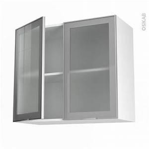 Meuble Haut Cuisine Vitré : meuble haut ouvrant h70 fa ade alu vitr e 2 portes l80xh70xp37 sokleo oskab ~ Teatrodelosmanantiales.com Idées de Décoration