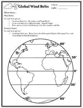 global wind belts worksheet global winds by science in the mitten teachers pay teachers