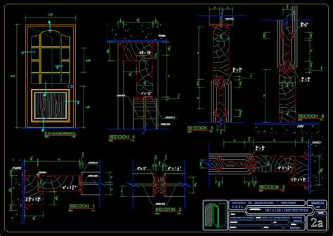 carpinteria detail wood door  autocad cad  kb