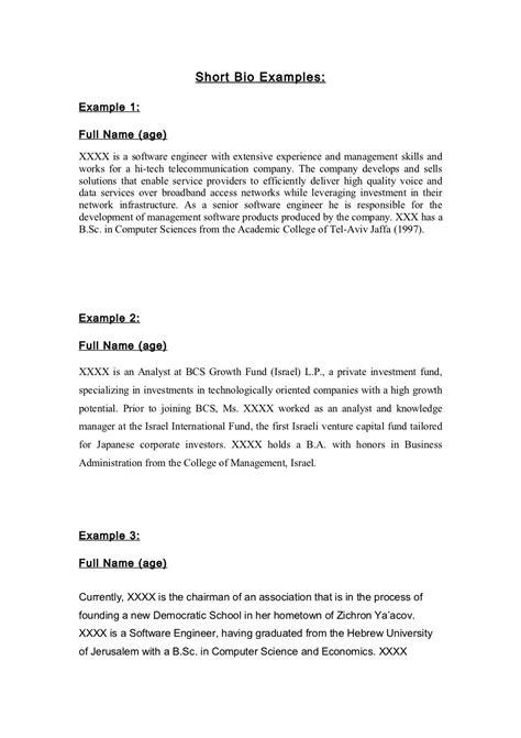 bio exles by friedagzyorkergl via slideshare bod bio exles sle