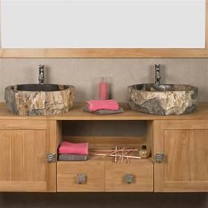 Salle De Bain En L : double vasques de salle de bain en bois p trifi fossilis l 45 cm ~ Melissatoandfro.com Idées de Décoration